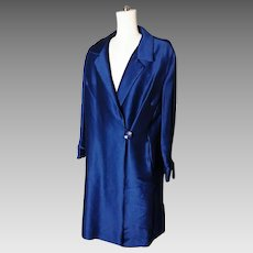 Vintage 50's Duster coat, worsted wool satin, royal blue, satin lined, 50's glam