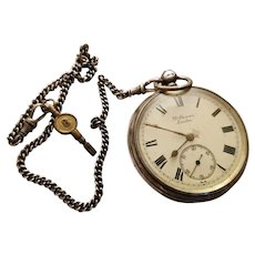 Antique sterling silver pocket watch, JW Benson, The Ludgate, hallmarked 1901, working with key and sterling silver albert chain