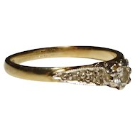 Vintage 9kt gold diamond solitaire ring, illusion set, 5 stone
