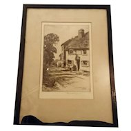 Antique Etching, Reginald Green, The Leather Bottle Cobham, signed
