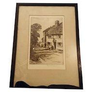 Antique Etching, Reginald Green, The Leather Bottle Cobham, signed