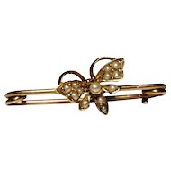 Antique butterfly brooch, Victorian 15ct gold and seed pearl pin