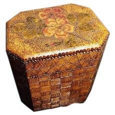 Antique pokerwork tea caddy, single, floral folk art