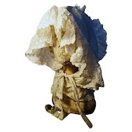 Antique bonnet, Victorian whitework, broderie anglaise bonnet, adult size