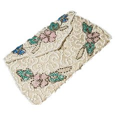 Vintage 1920's beaded clutch purse, floral beadwork