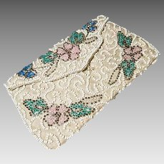 Vintage 1920's beaded clutch purse, floral beadwork