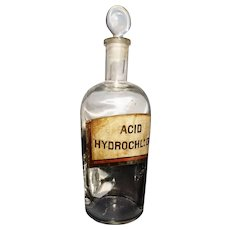Victorian apocethary bottle, glass stopper, chemist's