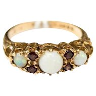 Vintage opal and garnet ring, Victorian style