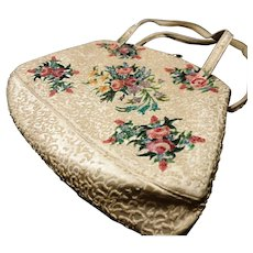 Vintage 1940's Waldybag, hand painted floral satin evening bag