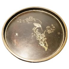 Antique Victorian chinoiserie tray, lacquered and gilt inlaid bird decoration