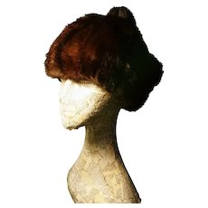 Vintage mink hat, 1940's satin lined fur pom pom hat