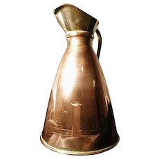 Antique copper and brass pitcher or jug, English copper