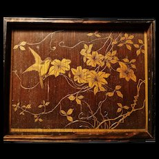 Victorian pyrography picture tray, carved wooden chinoiserie bird
