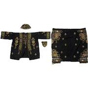 Rare antique South East Asian embroidered ensemble, jacket, hat, purse, pants, museum piece