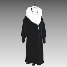 1920's opera coat, silk velvet and mink opera robe, Slattery and Co