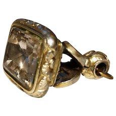Antique seal fob, large Victorian smokey quartz intaglio pendant