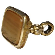 Victorian banded agate seal fob, uncarved, gold plated intaglio seal