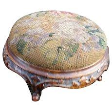 Victorian walnut foot stool, wool work top, carved wood