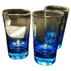 Antique Blue nip glasses, shot glasses, Scottish Blue glass, belonged to Lord James Bain, Knight of the Thistle, set of 3