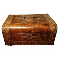 Victorian sewing box, walnut and straw work inlaid parquetry box