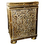 Antique Art Nouveau tea caddy, brass foliate in relief