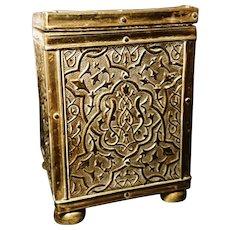 Antique Art Nouveau tea caddy, brass foliate in relief