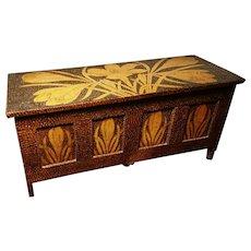 Art Nouveau floral pokerwork box, beautiful miniature coffer