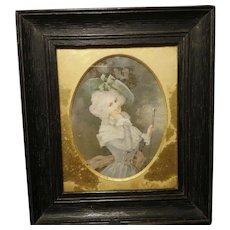 French antique portrait miniature, watercolour, fine art, French lady