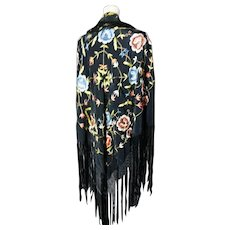 1920's Silk Piano shawl, embroidered black silk shawl