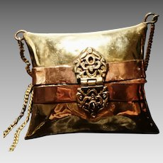 1920's Vintage evening purse, brass and copper, Indian metal purse