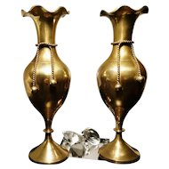 Antique brass vases, pair, rope and knot design