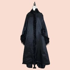 Victorian mourning coat with dolman sleeves, velvet and jet fringing