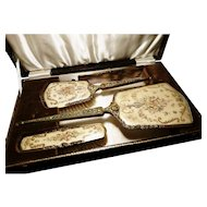 Vintage 30's petit point cased vanity set