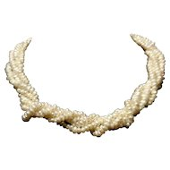 Art Deco 5 strand rice pearl choker necklace