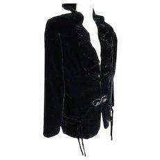 Vintage 1940's rich black evening jacket, beaded closures and tassles