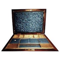 Victorian solid mahogany sewing box, satin lined