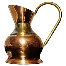 Antique copper and brass pitcher, haystack