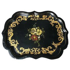 Victorian papier mache tray, gilt and inlaid mother of pearl, huge tray