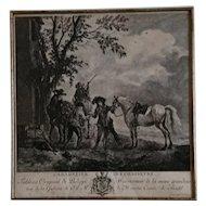18th century engraving, Cabaretier Des Chasseurs, CF Boece after Wouwerman, c1785, antique fine art