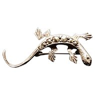 Art deco lizard brooch, fine silver and marcasite