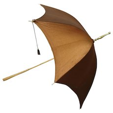 Victorian day parasol, copper silk,bamboo and brass