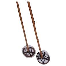 Antique bamboo ski poles, 19th century