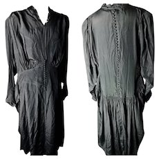 Antique silk mourning dress, button back and cuffs