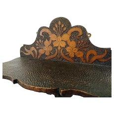 Antique Art Nouveau wall brackets, pair of display shelves, floral pokerwork