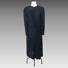20's Black crepe dress, Art Deco evening dress