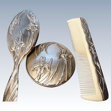 Antique Art Nouveau vanity set, silver plated
