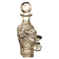 Large Victorian cut glass scent bottle