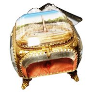 French antique jewellery casket, ormolu with Paris scene