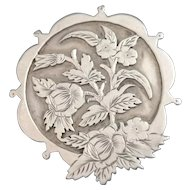 Large Victorian aesthetic era silver brooch