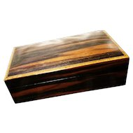 Antique wooden pyrography jewelry box